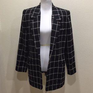Ellen Tracy Black Plaid Blazer Jacket